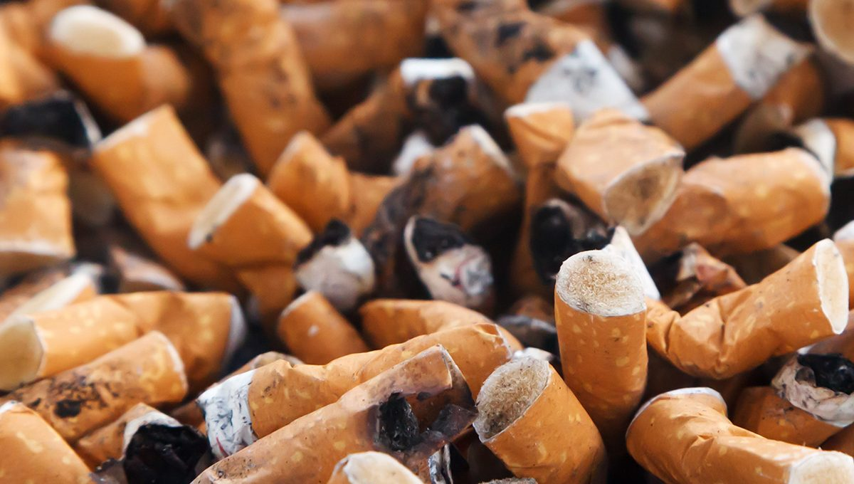Nahaufnahme eines Aschenbechers voller ausgedrückter Zigaretten