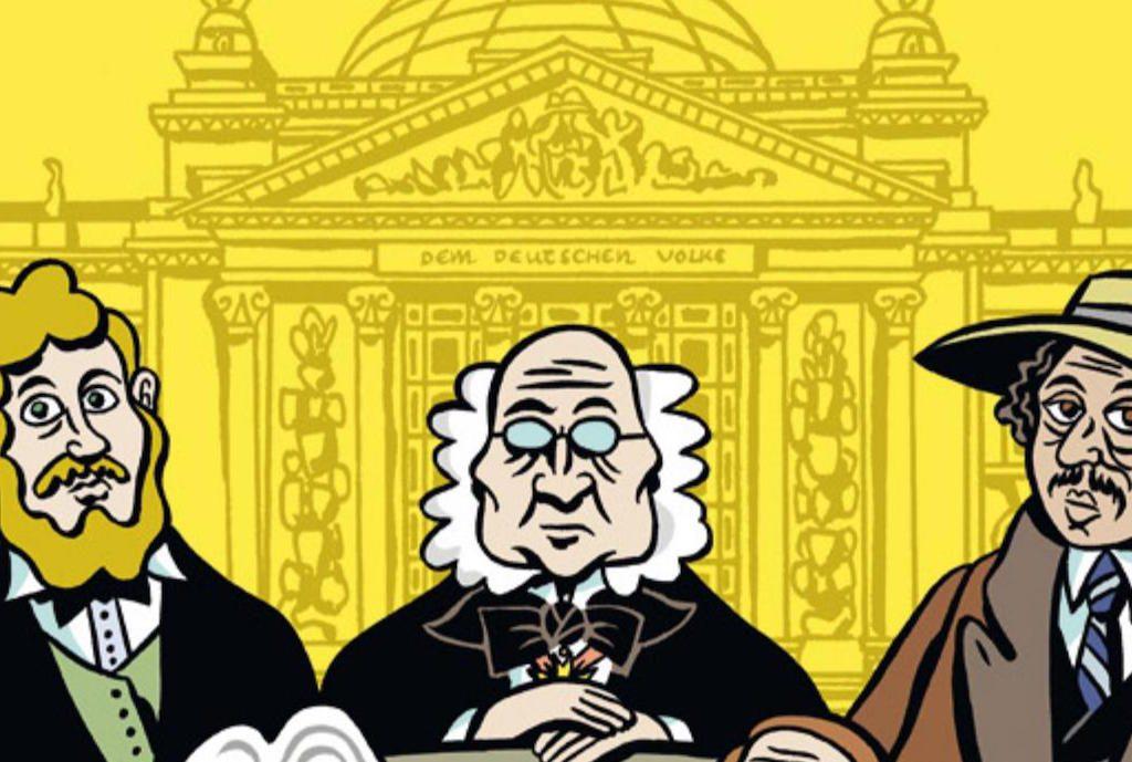 Comicbild mit drei Männern, die vor dem Reichstagsgebäude zu sehen sind.